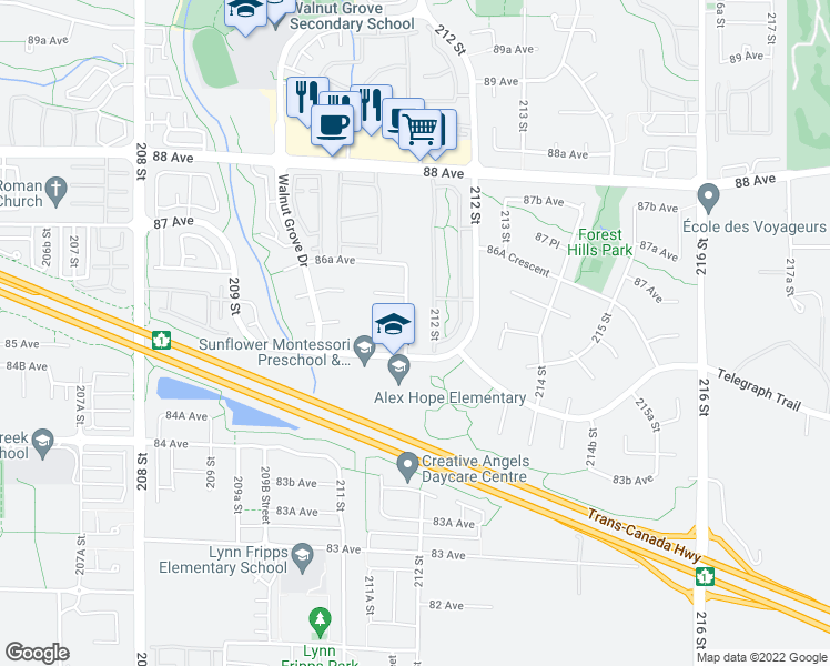 map of restaurants, bars, coffee shops, grocery stores, and more near 8530 211A Street in Langley City