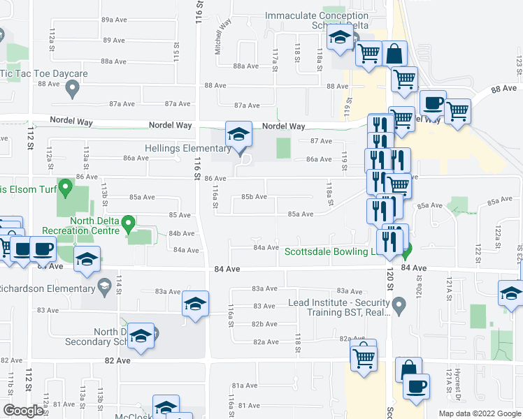 map of restaurants, bars, coffee shops, grocery stores, and more near 11719 85A Avenue in Delta