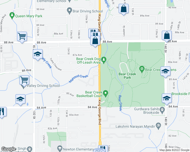 map of restaurants, bars, coffee shops, grocery stores, and more near 8555 King George Boulevard in Surrey