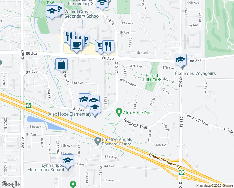 map of restaurants, bars, coffee shops, grocery stores, and more near 8737 212 Street in Langley City