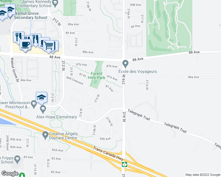 map of restaurants, bars, coffee shops, grocery stores, and more near 21534 87 Avenue in Langley