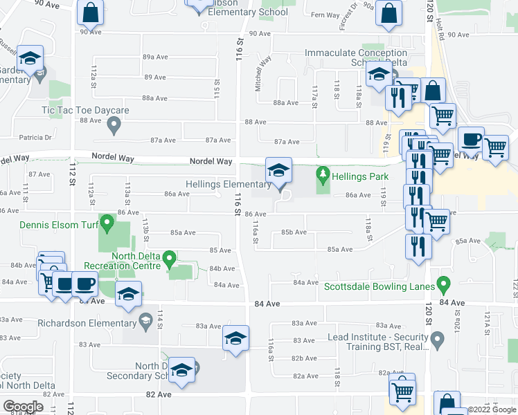 map of restaurants, bars, coffee shops, grocery stores, and more near 11629 86 Avenue in Delta