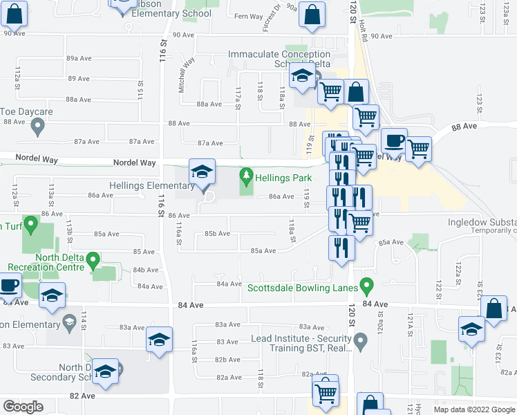 map of restaurants, bars, coffee shops, grocery stores, and more near 11793 86 Avenue in Delta