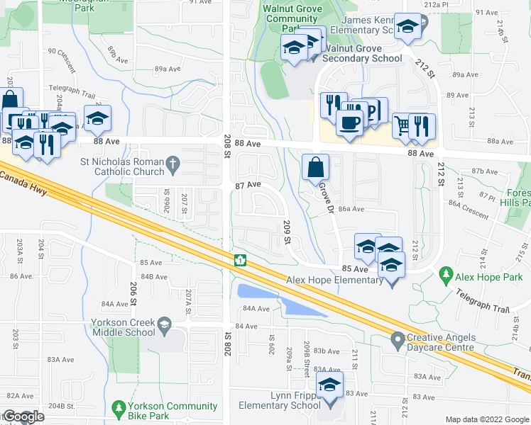 map of restaurants, bars, coffee shops, grocery stores, and more near 37 209 Street in Langley City