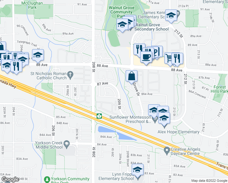 map of restaurants, bars, coffee shops, grocery stores, and more near 12 209 Street in Langley