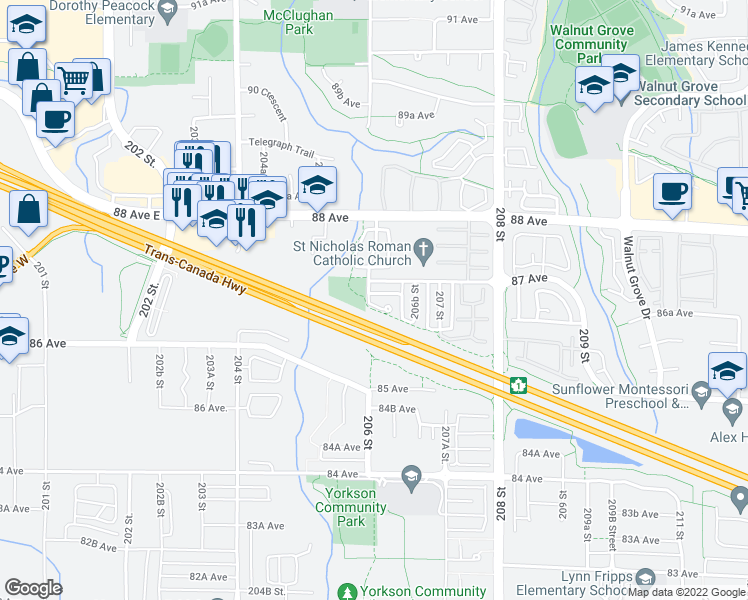 map of restaurants, bars, coffee shops, grocery stores, and more near 20613 86A Avenue in Langley City