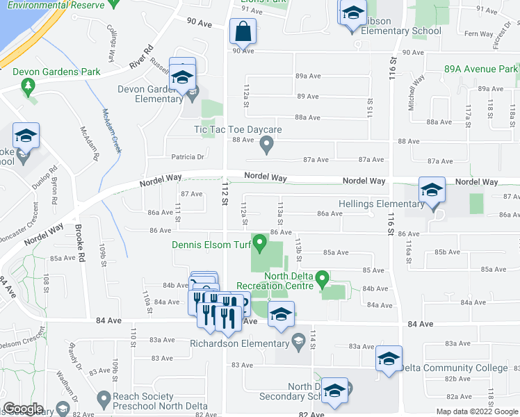 map of restaurants, bars, coffee shops, grocery stores, and more near 11289 86A Avenue in Delta