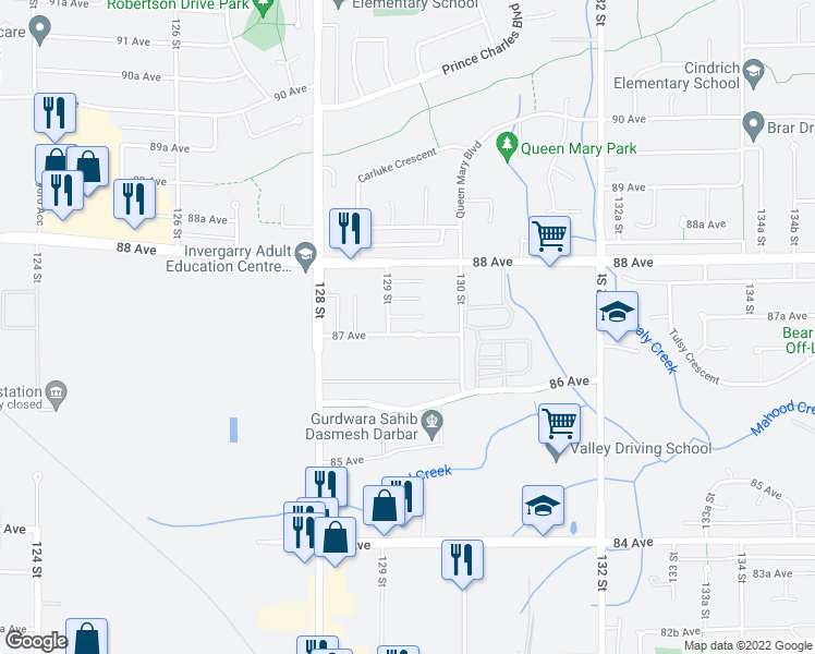 map of restaurants, bars, coffee shops, grocery stores, and more near 12923 87 Avenue in Surrey