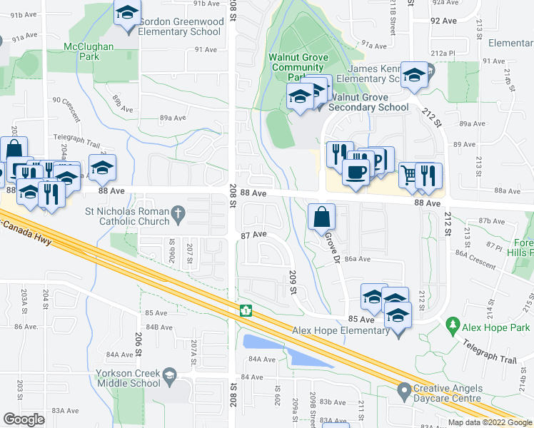 map of restaurants, bars, coffee shops, grocery stores, and more near 20881 87 Avenue in Langley City