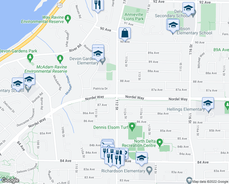 map of restaurants, bars, coffee shops, grocery stores, and more near 8749 112 Street in Delta