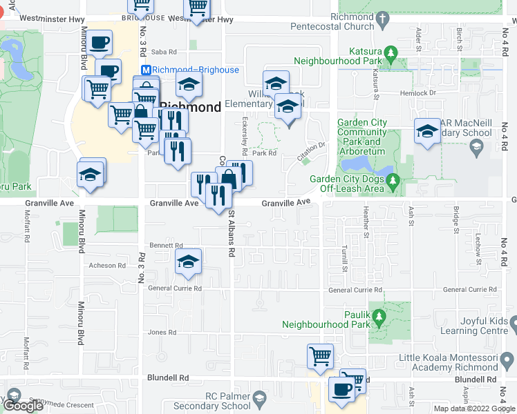 map of restaurants, bars, coffee shops, grocery stores, and more near 8480 Granville Avenue in Richmond
