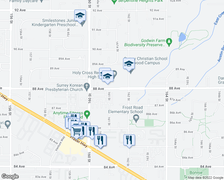 map of restaurants, bars, coffee shops, grocery stores, and more near 16127 87 Avenue in Surrey