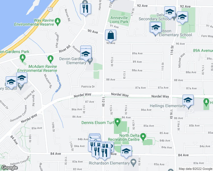 map of restaurants, bars, coffee shops, grocery stores, and more near 8770 112 Street in Delta