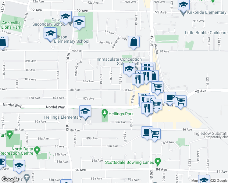 map of restaurants, bars, coffee shops, grocery stores, and more near 11806 88 Avenue in Delta