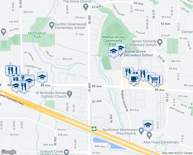 map of restaurants, bars, coffee shops, grocery stores, and more near 8844 208 Street in Langley City