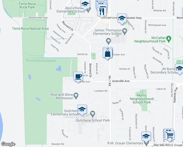 map of restaurants, bars, coffee shops, grocery stores, and more near 6928 Barnard Drive in Richmond