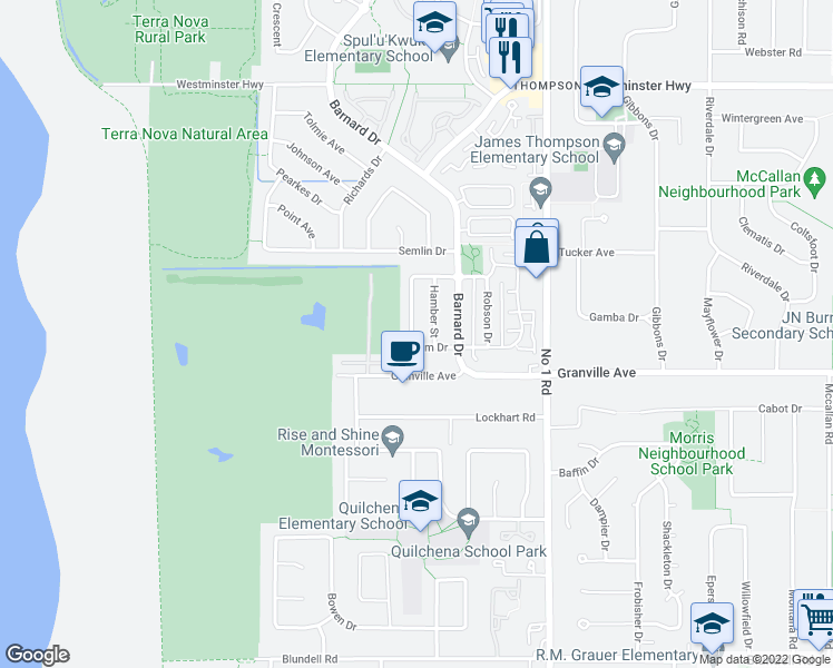 map of restaurants, bars, coffee shops, grocery stores, and more near 3780 Lam Drive in Richmond