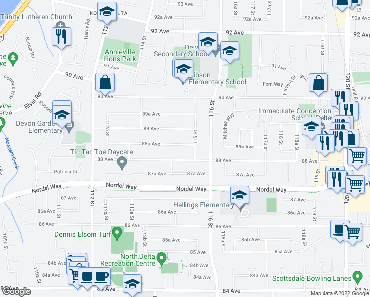 map of restaurants, bars, coffee shops, grocery stores, and more near 11478 88A Avenue in Delta