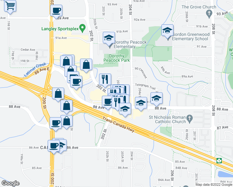 map of restaurants, bars, coffee shops, grocery stores, and more near 8561 203A Street in Langley City