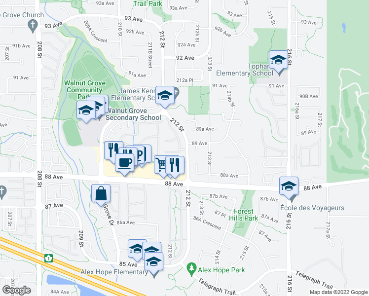map of restaurants, bars, coffee shops, grocery stores, and more near 8889 212 Street in Langley City