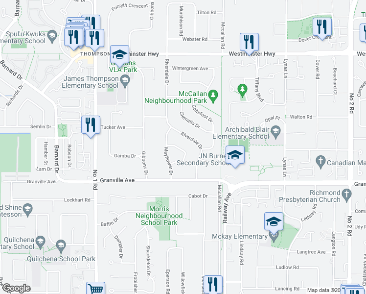 map of restaurants, bars, coffee shops, grocery stores, and more near 4691 Foxglove Crescent in Richmond