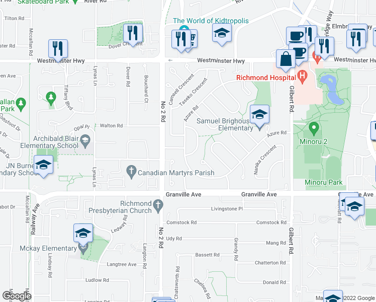 map of restaurants, bars, coffee shops, grocery stores, and more near 6191 Kalamalka Crescent in Richmond