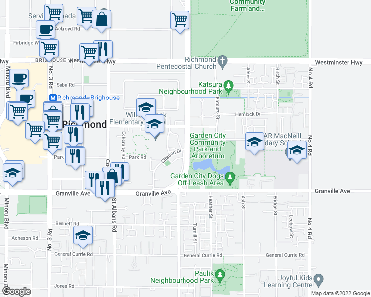 map of restaurants, bars, coffee shops, grocery stores, and more near Garden City Road in Richmond