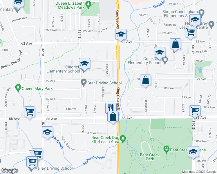 map of restaurants, bars, coffee shops, grocery stores, and more near 13546 Bryan Place in Surrey