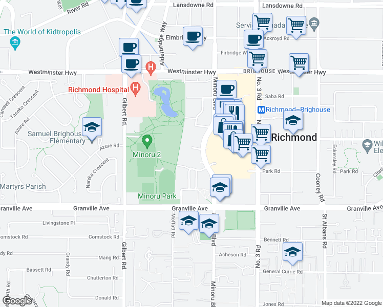 map of restaurants, bars, coffee shops, grocery stores, and more near 6631 Minoru Boulevard in Richmond
