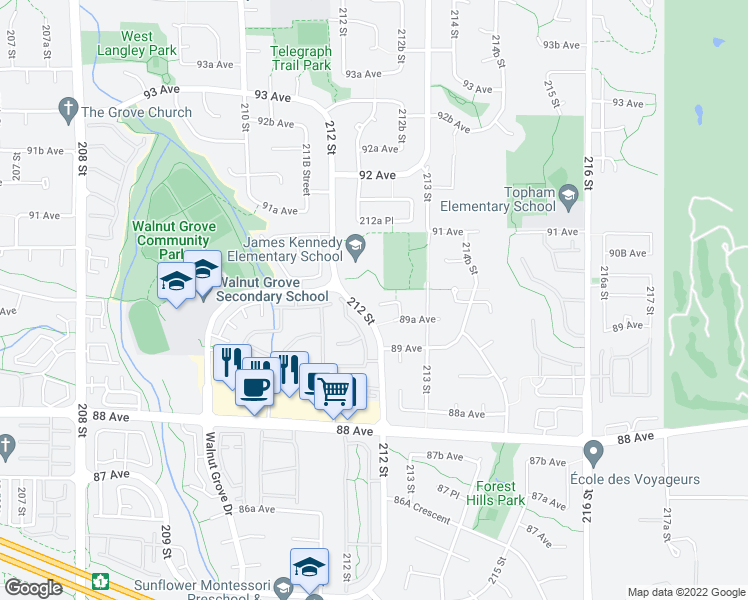 map of restaurants, bars, coffee shops, grocery stores, and more near 21227 89B Avenue in Langley