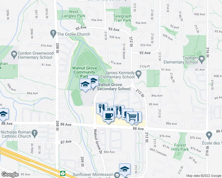 map of restaurants, bars, coffee shops, grocery stores, and more near 8930 Walnut Grove Drive in Langley City