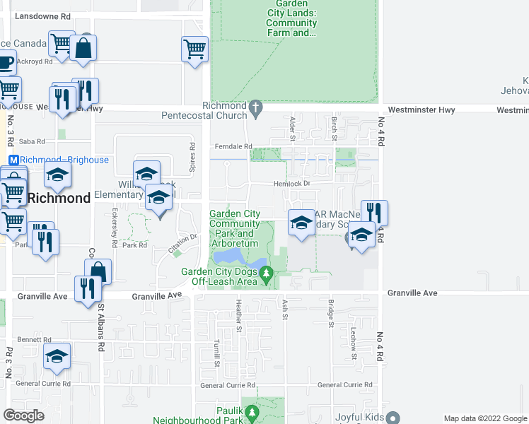 map of restaurants, bars, coffee shops, grocery stores, and more near 9333 Alberta Road in Richmond
