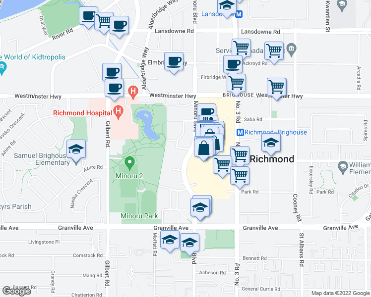 map of restaurants, bars, coffee shops, grocery stores, and more near 7333 Murdoch Avenue in Richmond