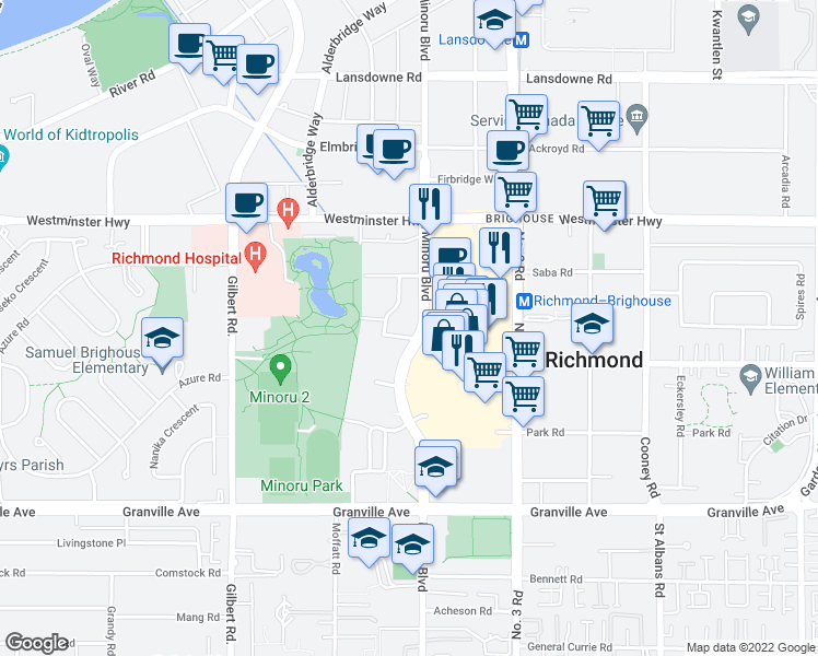 map of restaurants, bars, coffee shops, grocery stores, and more near 7399 Murdoch Avenue in Richmond