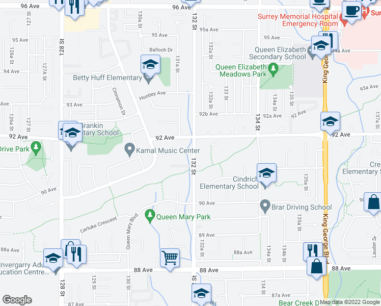 map of restaurants, bars, coffee shops, grocery stores, and more near 9155 132 Street in Surrey
