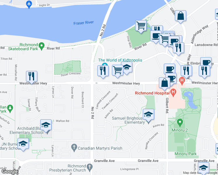 map of restaurants, bars, coffee shops, grocery stores, and more near 6040 Thetis Place in Richmond