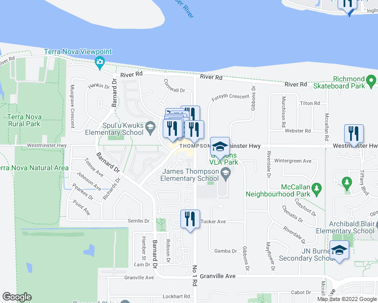 map of restaurants, bars, coffee shops, grocery stores, and more near 6011 Number 1 Road in Richmond