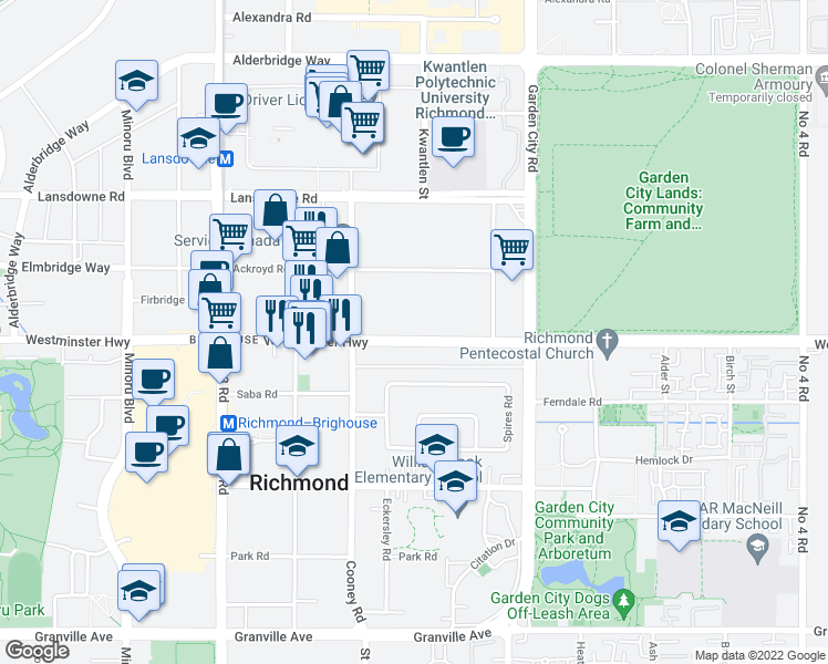 map of restaurants, bars, coffee shops, grocery stores, and more near 8511 Westminster Highway in Richmond