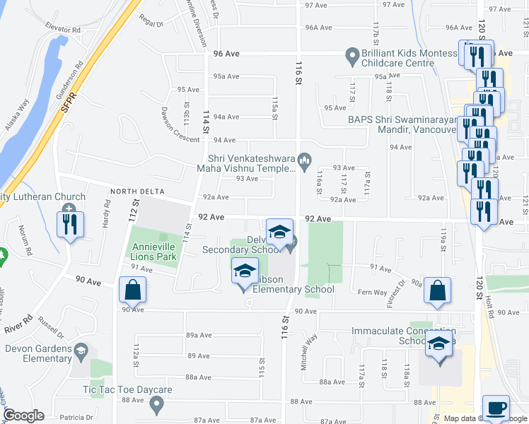 map of restaurants, bars, coffee shops, grocery stores, and more near 11523 92 Avenue in Delta