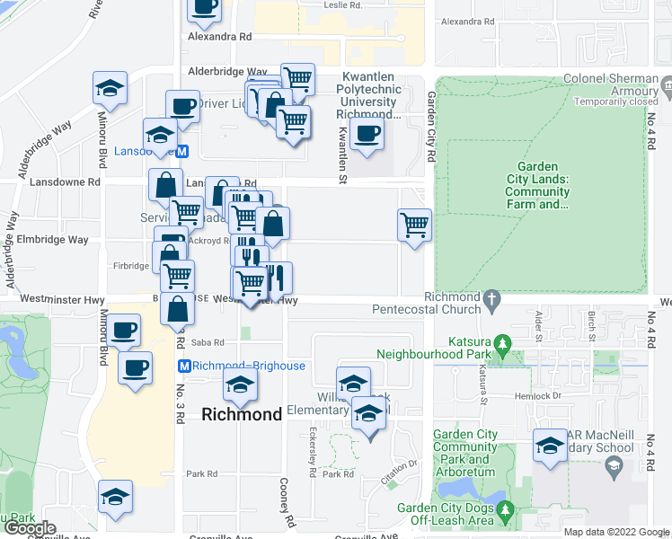 map of restaurants, bars, coffee shops, grocery stores, and more near 8500 Ackroyd Road in Richmond