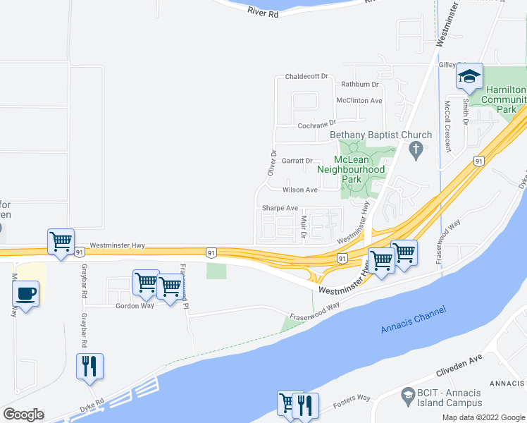 map of restaurants, bars, coffee shops, grocery stores, and more near 22000 Sharpe Avenue in Richmond
