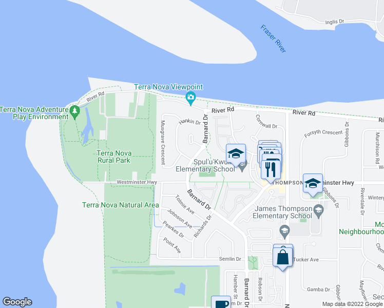 map of restaurants, bars, coffee shops, grocery stores, and more near 5691 Barnard Drive in Richmond