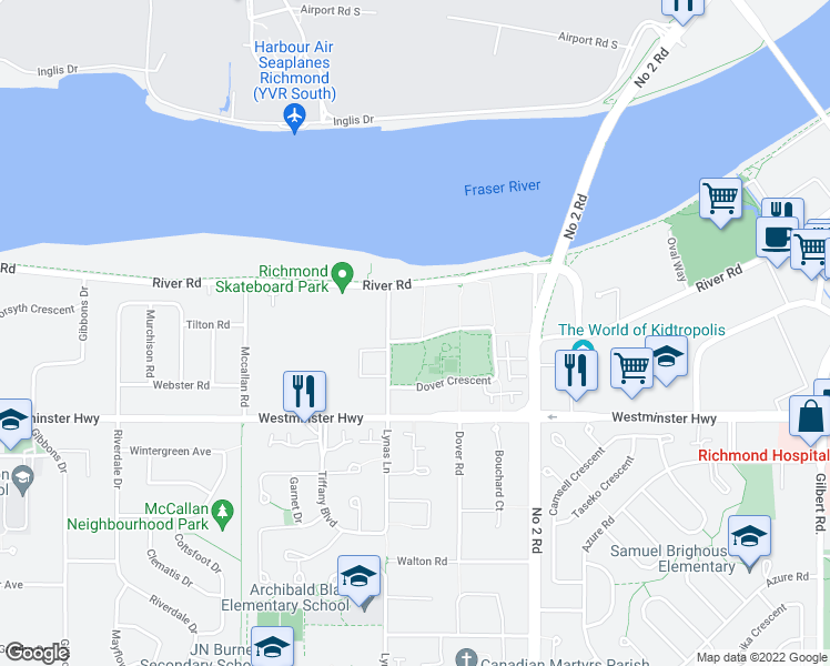 map of restaurants, bars, coffee shops, grocery stores, and more near 5900 Dover Crescent in Richmond