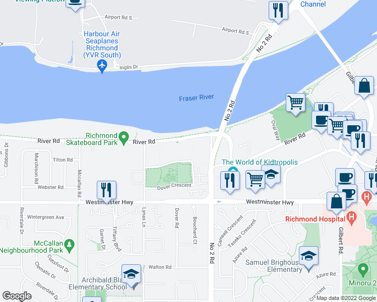 map of restaurants, bars, coffee shops, grocery stores, and more near 5880 Dover Crescent in Richmond