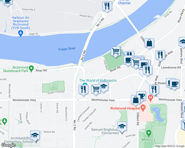 map of restaurants, bars, coffee shops, grocery stores, and more near 5131 Brighouse Way in Richmond