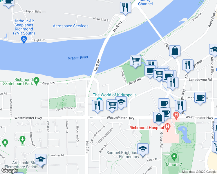 map of restaurants, bars, coffee shops, grocery stores, and more near 5111 Brighouse Way in Richmond