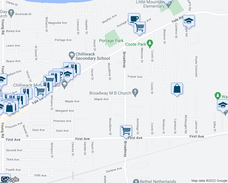 map of restaurants, bars, coffee shops, grocery stores, and more near 9444 Woodbine Street in Chilliwack