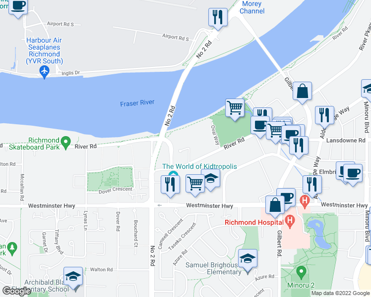 map of restaurants, bars, coffee shops, grocery stores, and more near 5151 Brighouse Way in Richmond