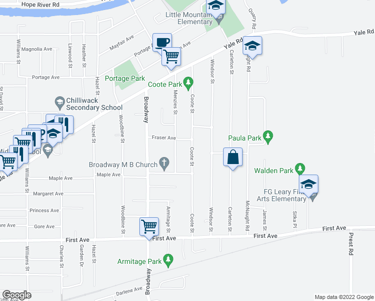map of restaurants, bars, coffee shops, grocery stores, and more near 9475 Coote Street in Chilliwack