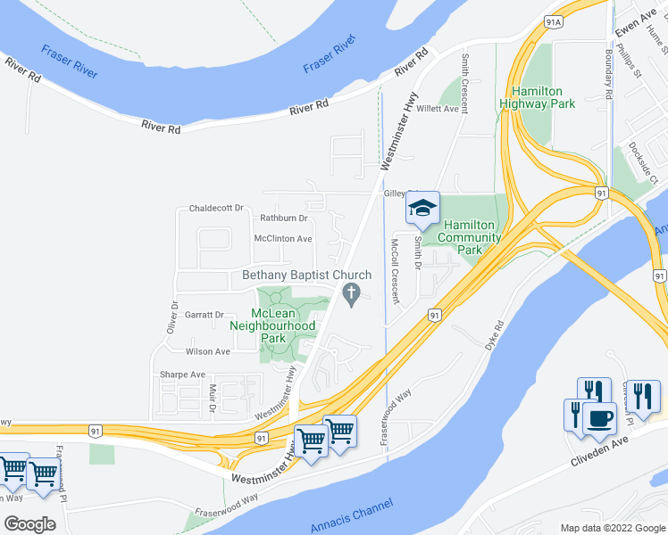 map of restaurants, bars, coffee shops, grocery stores, and more near 22711 Westminster Highway in Richmond
